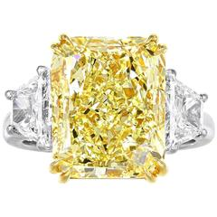 7.18 Carat Fancy Yellow GIA Certified Cushion Cut Diamond Engagement 3 Stone Rin