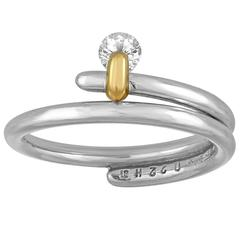 Modern 0.22 Carats Diamond Gold Platinum Ring by Feeling