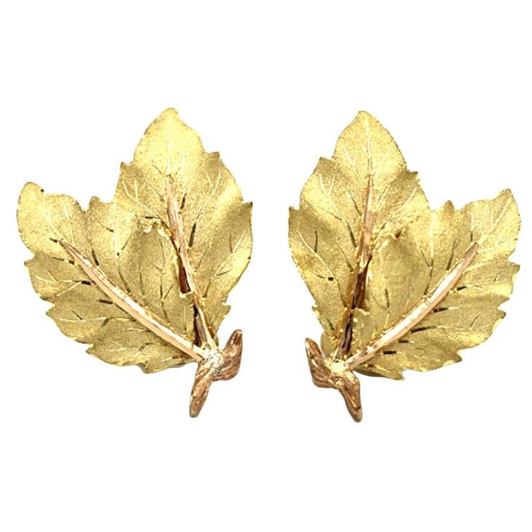 Buccellati Gold Two Leaf Design Earrings 1