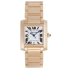 Cartier Yellow Gold Tank Francaise Date Automatic Wristwatch Ref W50001R2