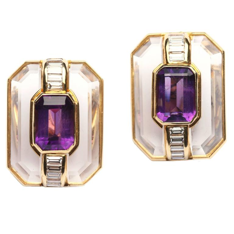 Rock Crystal Amethyst Gold Ear Clips For Sale