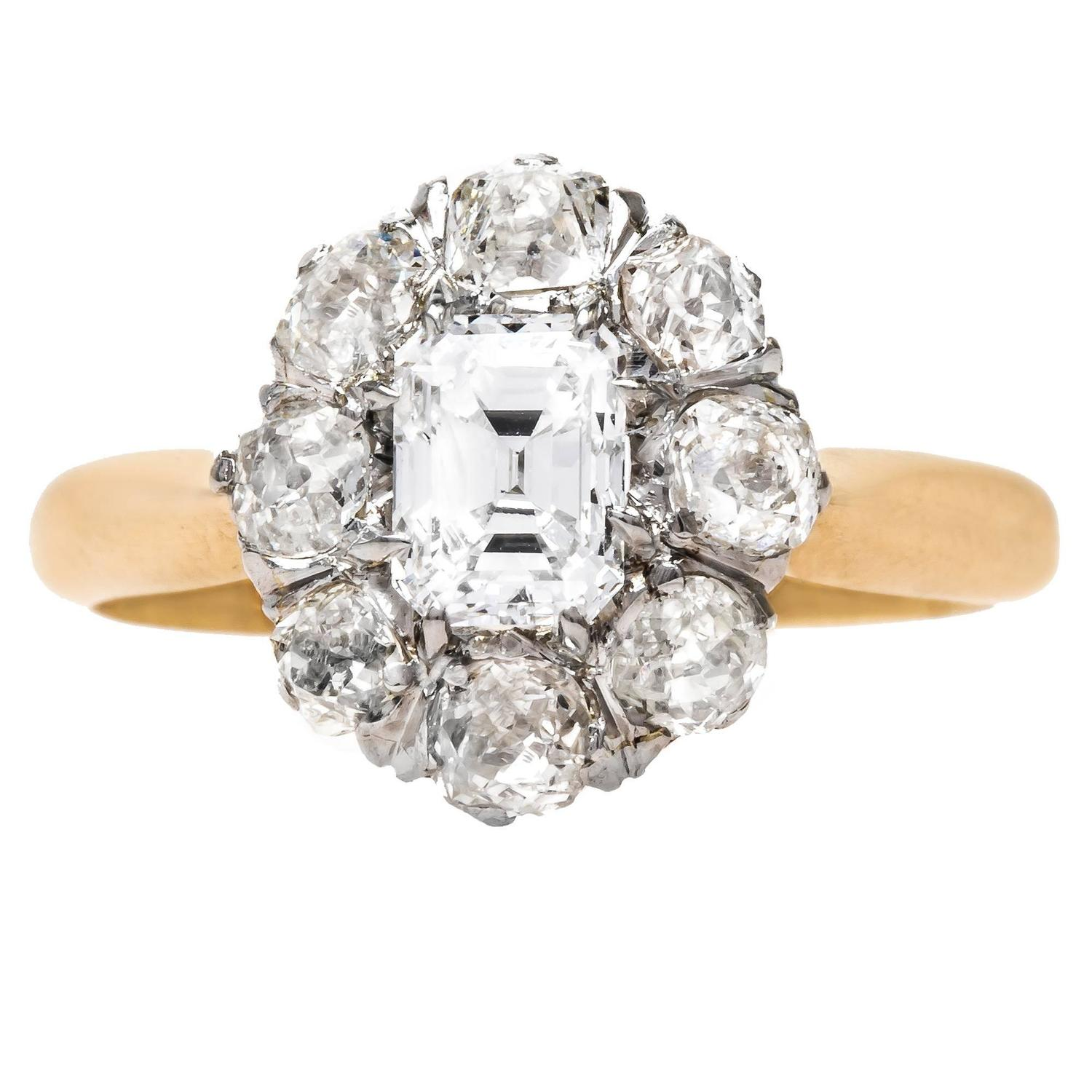 Unique Victorian Cluster Engagement Ring with Emerald Cut Center Diamond at 1