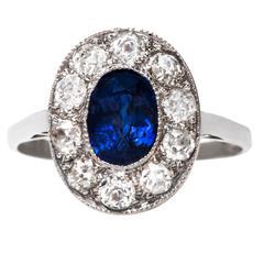 Alluring Art Deco Sapphire Diamond Gold Halo Engagement Ring