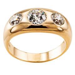 Three-Stone Diamond Gold Gypsy Ring