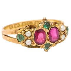 Endearing Ring of Rubies, Emeralds and Pearls