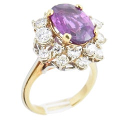 4 Carat Oval Pinkish Purple Sapphire Diamond Gold Cocktail Ring with GIA Cert
