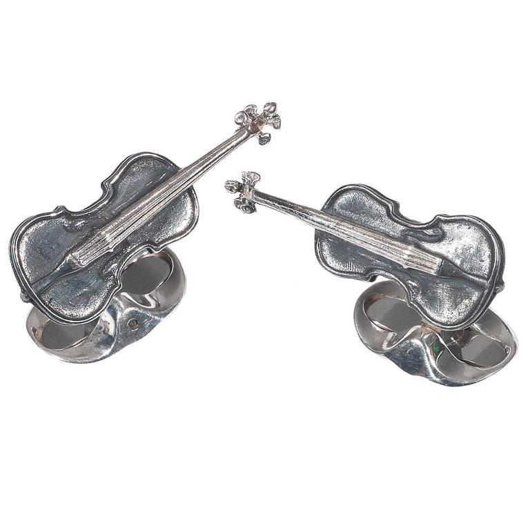 deakin and francis black violin cufflinks for sale at 1stdibs. Black Bedroom Furniture Sets. Home Design Ideas