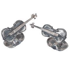 Deakin & Francis Black Violin Cufflinks