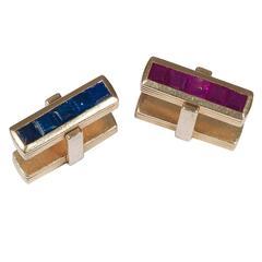 Pair of Ruby Sapphire Gold Cufflinks