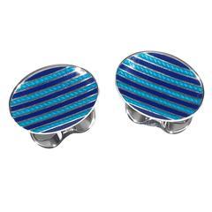 Deakin & Francis Oval Stripe Design Cufflinks