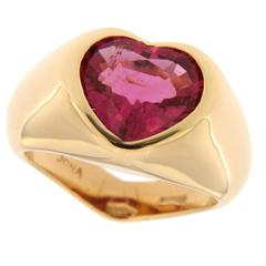 Jona Rubelite Gold Heart Ring