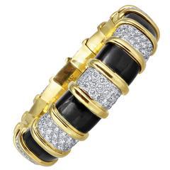 Tiffany & Co. Schlumberger Enamel Diamond Gold Bangle Bracelet