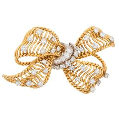 Bulgari Diamond Gold Bow Brooch