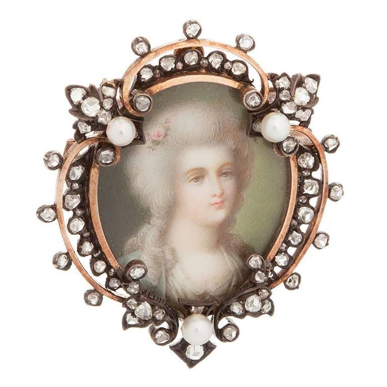Antique Pearl Diamond Gold Portrait Brooch
