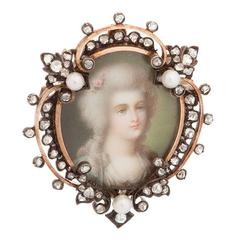 Antique Pearl Diamond Gold Portrait Brooch