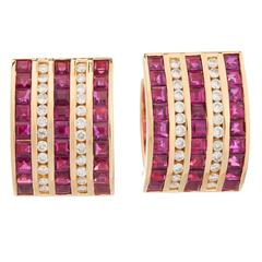 Ruby Diamond Gold Earrings