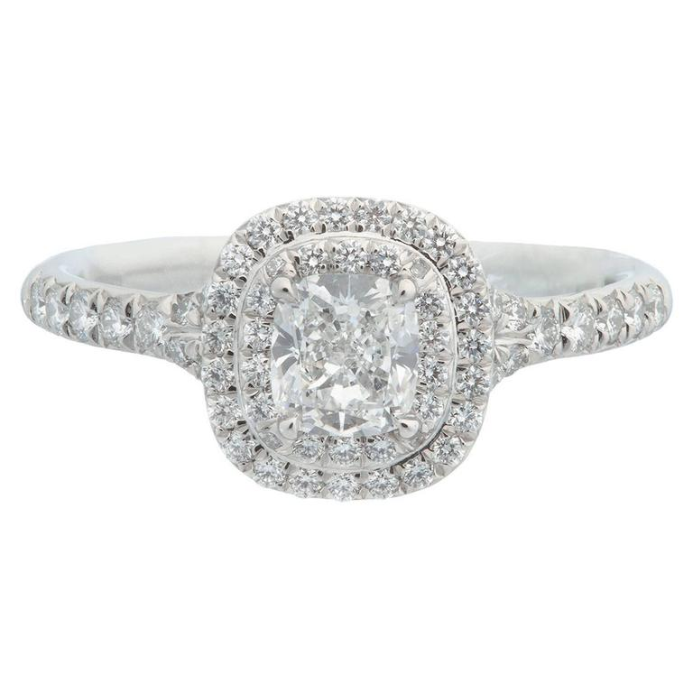 Tiffany & Co. Cushion Diamond Platinum Ring For Sale