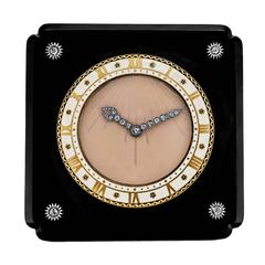 Cartier Important Art Deco Onyx Diamond Desk Clock