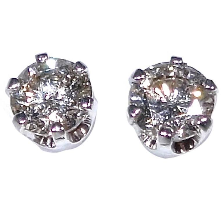 1 Carat Diamond Gold Stud Earrings
