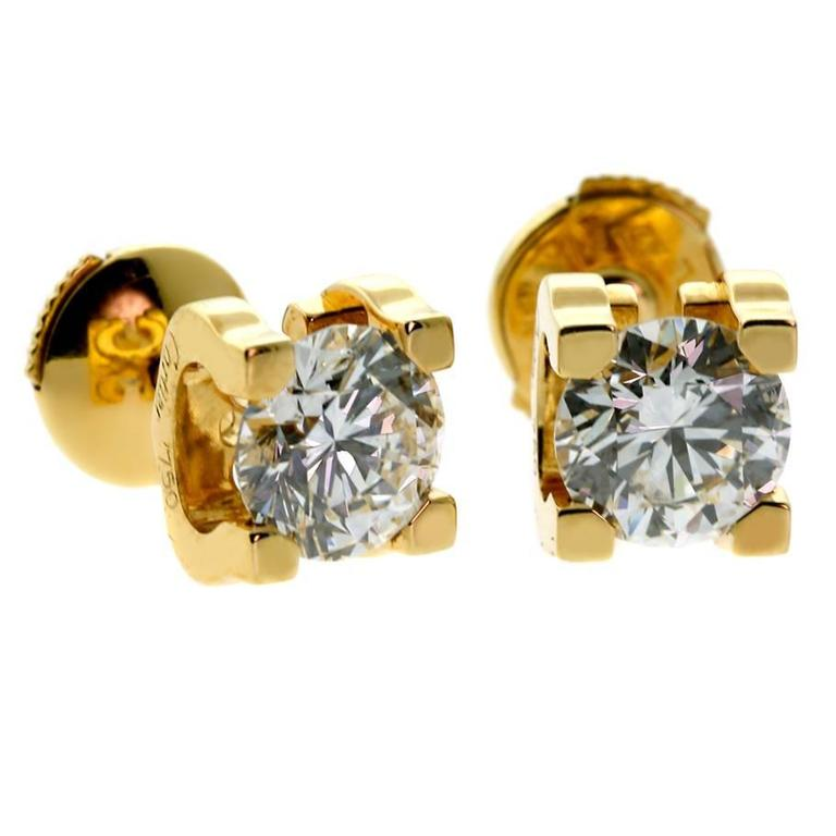 Cartier Diamond Gold C De 2 20 Carats Stud Earrings For