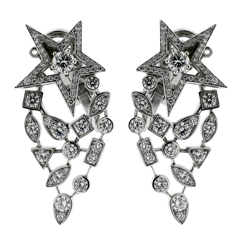 Chanel Comete Diamond Gold Earrings