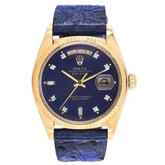 Rolex Vintage Yellow Gold Day-Date Factory Blue Diamond Dial Wristwatch