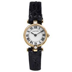 Cartier Paris Yellow Gold Diamond Dress Quartz Wristwatch