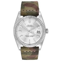 Rolex Vintage Stainless Steel Oyster Perpetual Datejust Camo Band Wristwatch