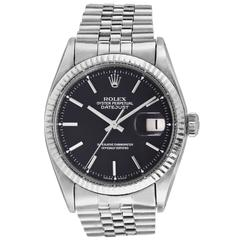 Rolex Vintage White Gold Oyster Perpetual Datejust Black Matte Dial Wristwatch