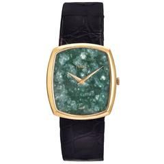 Piaget Yellow Gold Nephrite Stone Dial Manual Wind Dress Wristwatch