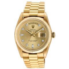 Rolex Vintage Yellow Gold Day-Date President Factory Diamond Dial Wristwatch