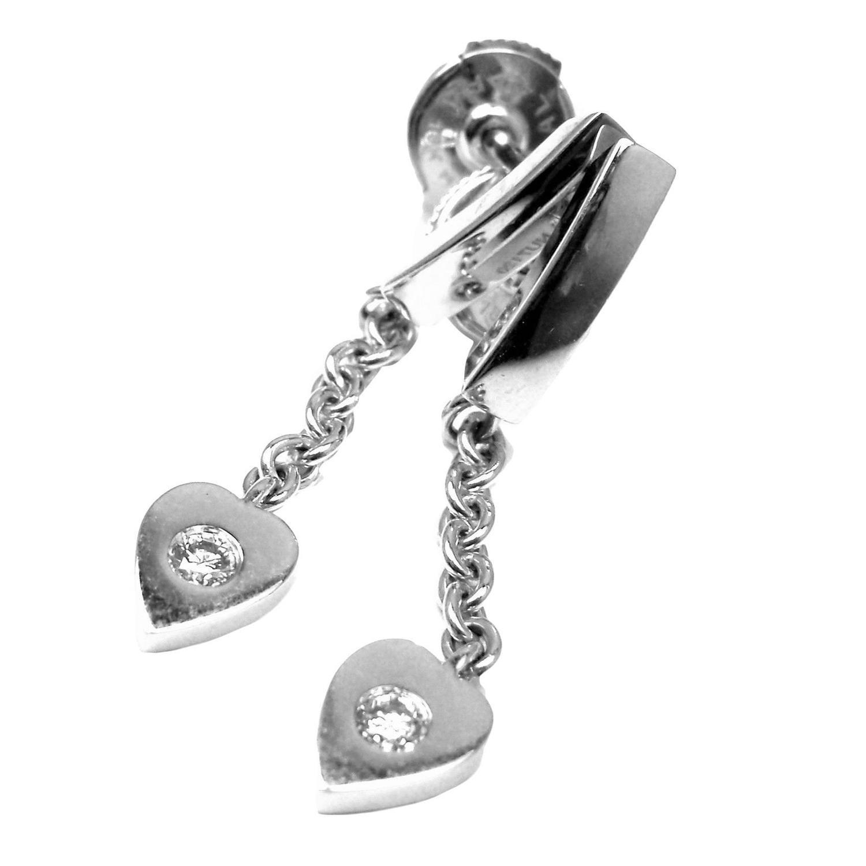cartier diamond gold drop dangle heart earrings at 1stdibs