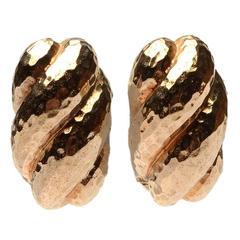 Hammered Gold Shrimp Earrings