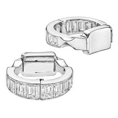 Baguette-Cut Diamond Platinum Cufflinks