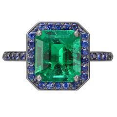 Manuel Bouvier 2.45 Carat Colombian Emerald Sapphire Gold Ring
