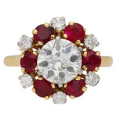 1960s Mellerio Diamond Ruby Gold Platinum Cluster Ring