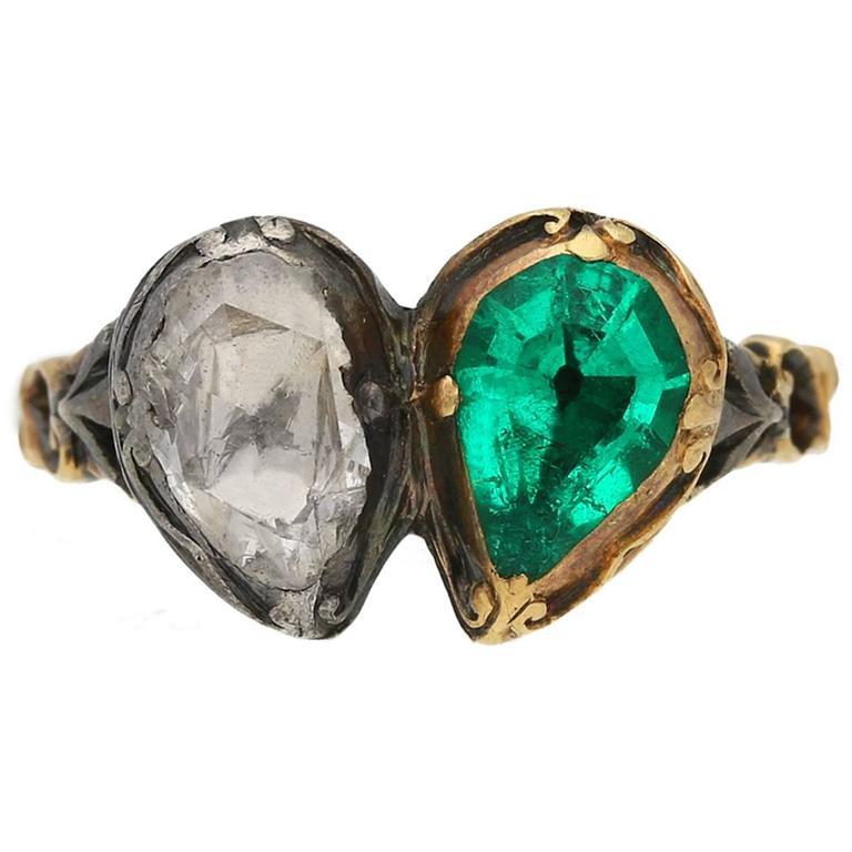 Georgian Emerald Diamond Silver Gold Twin Heart Ring For