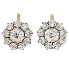 1890s Victorian Diamond Silver Gold Cluster Earrings