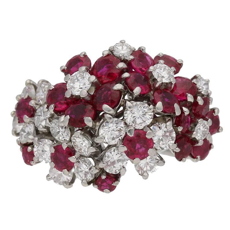 1950s J.E. Caldwell Ruby Diamond Platinum Ring
