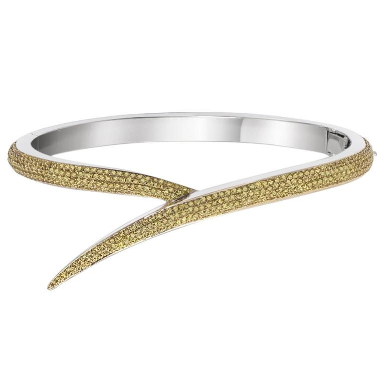 Shaun Leane Yellow Sapphire Gold Entwined Bangle Bracelet