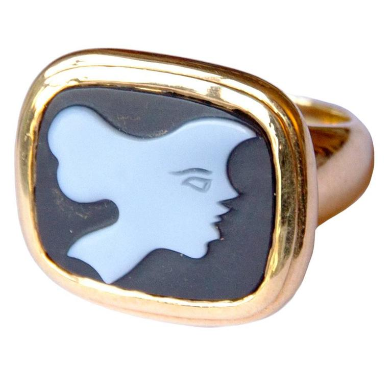 "1963 Georges Braque Gold ""Hecate"" Black Agathe Cameo Ring"