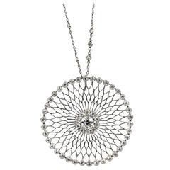 Edwardian 1.25 Carat Diamond Platinum Circle Pendant