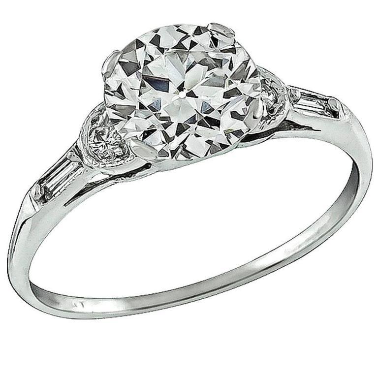 1.75 Carat Circular Brilliant Cut Diamond Platinum Ring