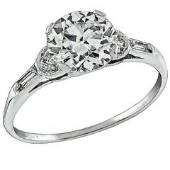 1.75 Carat Circular Brilliant Cut Diamond Platinum Ring