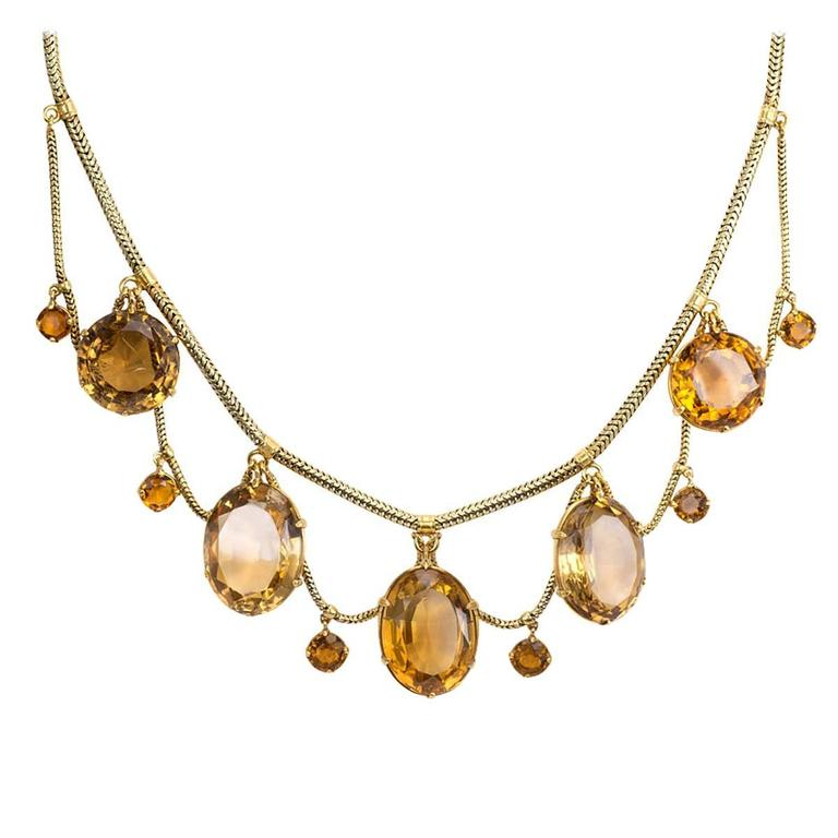 Victorian Citrine Gold Festoon Necklace For Sale At 1stdibs