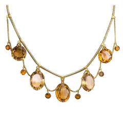 Victorian Citrine Gold Festoon Necklace