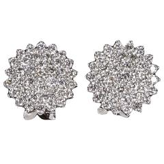 Classic Diamond White Gold Button Earrings