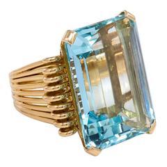 1940s French Aquamarine Gold Ring