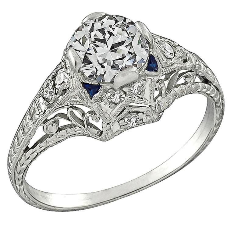 0.96 Carat GIA Cert Diamond Platinum Engagement Ring