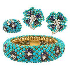 Van Cleef & Arpels Turquoise Sapphire Diamond Gold Demi-Parure